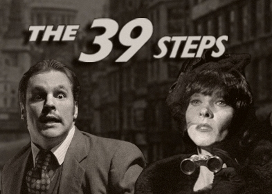 The 39 steps theatre review hale centre theatre for Farcical sentence examples